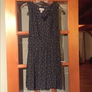 LOFT Navy and Cream Patterned Dress